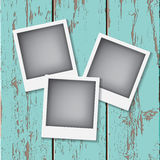 Instant vintage photos frames. On the old wooden background. Retro vector background Stock Photos