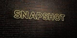 INSTANTANÉ - enseigne au néon réaliste sur le fond de mur de briques - image courante gratuite de redevance rendue par 3D Photo libre de droits