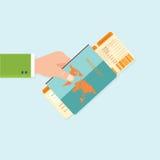 Instapkaart en Paspoort in handen Royalty-vrije Stock Afbeelding