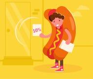 Instigateur dans un costume de hot-dog distribuant des tracts Vecteur cartoon Art d'isolement illustration libre de droits