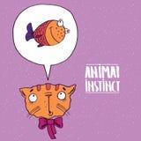 Instinto animal del gato a los pescados stock de ilustración