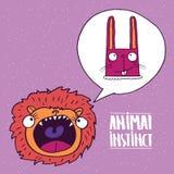 Instinto animal del león al conejo libre illustration
