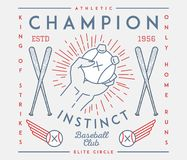 Instinto auténtico del campeón del béisbol ilustración del vector