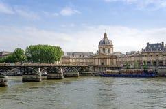 Institut de France and the Pont des Arts or Passerelle des Arts Stock Photo