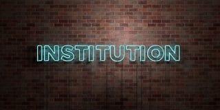 INSTITUTION - fluorescerande tecken för neonrör på murverk - främre sikt - 3D framförd fri materielbild för royalty Arkivfoton