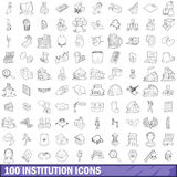 100 institution icons set, outline style Stock Images