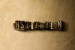INSTITUTION - närbild av det typsatta ordet för grungy tappning på metallbakgrunden Arkivbilder