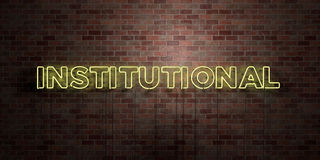 INSTITUTIONAL - fluorescent Neon tube Sign on brickwork - Front view - 3D rendered royalty free stock picture Stock Photography