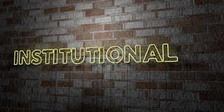 INSTITUTIONAL - Glowing Neon Sign on stonework wall - 3D rendered royalty free stock illustration Stock Image