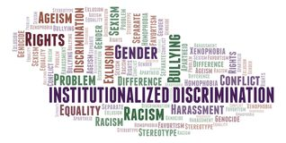 Institutionalized Discrimination - type of discrimination - word cloud. Wordcloud made with text only stock illustration