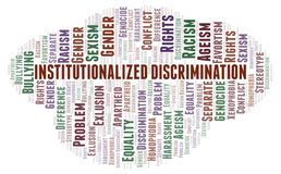 Institutionalized Discrimination - type of discrimination - word cloud. Wordcloud made with text only vector illustration