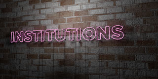 INSTITUTIONS - Glowing Neon Sign on stonework wall - 3D rendered royalty free stock illustration Stock Image