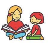 Institutrice gardienne, livre de lecture de femme au concept d'enfant Images stock