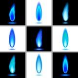 inställda blåa flammor 1 Arkivfoto