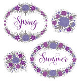 Inställda blommor härlig blom- ramillustrationvektor Garnering för hälsningkort Arkivfoto
