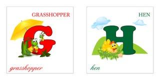 inställda bokstäver för alfabetG-H Arkivbild