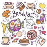 inställda frukostsymboler Royaltyfria Bilder