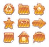 inställda glansiga guld- symboler Arkivbild