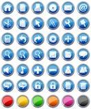 inställda glansiga symboler för 1 knappar Arkivbilder