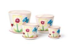 inställda inomhus växter för keramiska blomkrukar Royaltyfria Foton