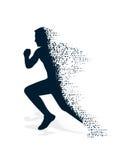 Instortend silhouet van de lopende atleet Stock Afbeeldingen