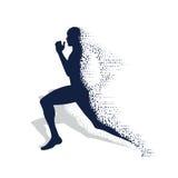 Instortend silhouet van de lopende atleet Stock Foto