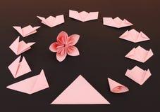 Instrução da flor do origâmi Fotografia de Stock