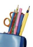 Instrução de escola da caixa de lápis Fotografia de Stock Royalty Free