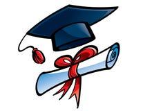 Instrução (tampão e diploma da graduação) Fotografia de Stock Royalty Free