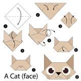 Instruções passo a passo como fazer a origâmi um gato Foto de Stock