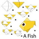 Instruções passo a passo como fazer a origâmi um peixe Fotografia de Stock Royalty Free