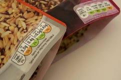 Instrucciones BRITÁNICAS del etiquetado de alimentos del semáforo del arroz del paquete Fotografía de archivo libre de regalías