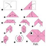 Instrucciones paso a paso cómo hacer papiroflexia un pescado Imágenes de archivo libres de regalías