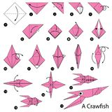 Instrucciones paso a paso cómo hacer papiroflexia un pescado del buche stock de ilustración