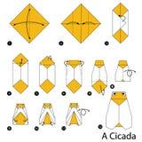 Instrucciones paso a paso cómo hacer papiroflexia una cigarra ilustración del vector