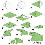 Instrucciones paso a paso cómo hacer papiroflexia una rana ilustración del vector