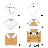 Instrucciones paso a paso cómo hacer el búho de la papiroflexia Imagenes de archivo