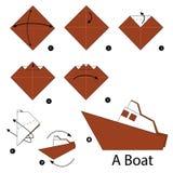 Instrucciones paso a paso cómo hacer el barco de la papiroflexia Foto de archivo libre de regalías