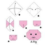 Instrucciones paso a paso cómo hacer el cerdo de la papiroflexia Fotografía de archivo libre de regalías