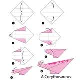Instrucciones paso a paso cómo hacer el dinosaurio de la papiroflexia A Imagen de archivo libre de regalías