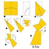 Instrucciones paso a paso cómo hacer el Fox de la papiroflexia A Imágenes de archivo libres de regalías