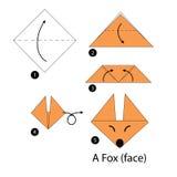 Instrucciones paso a paso cómo hacer el Fox de la papiroflexia A Fotos de archivo libres de regalías
