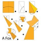 Instrucciones paso a paso cómo hacer el Fox de la papiroflexia A Fotografía de archivo libre de regalías