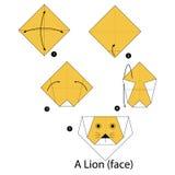 Instrucciones paso a paso cómo hacer el león de la papiroflexia Foto de archivo libre de regalías