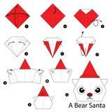 Instrucciones paso a paso cómo hacer el oso Papá Noel de la papiroflexia Imagen de archivo
