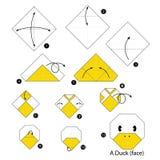 Instrucciones paso a paso cómo hacer el pato de la papiroflexia Imagen de archivo