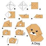 Instrucciones paso a paso cómo hacer el perro de la papiroflexia Imagenes de archivo
