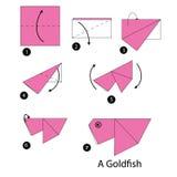Instrucciones paso a paso cómo hacer el pez de colores de la papiroflexia Fotos de archivo libres de regalías