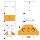 Instrucciones paso a paso cómo hacer el UFO de la papiroflexia Foto de archivo libre de regalías