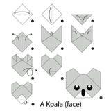 Instrucciones paso a paso cómo hacer la koala de la papiroflexia Foto de archivo libre de regalías